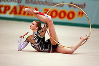 "Olga Kapranova of Russia begins routine with hoop at 2008 World Cup Kiev, ""Deriugina Cup"" in Kiev, Ukraine on March 23, 2008."