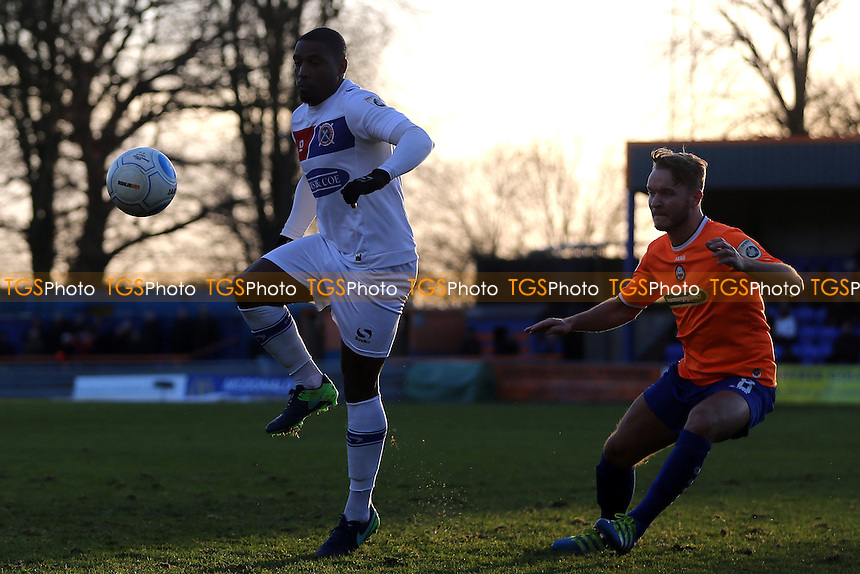 Tyrique Hyde of Dagenham and Chez Isaac of Braintree Town during Braintree Town vs Dagenham & Redbridge, Vanarama National League Football at the IronmongeryDirect Stadium on 26th December 2016