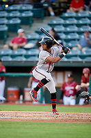 Richmond Flying Squirrels right fielder Luigi Rodriguez (6) at bat during a game against the Altoona Curve on May 15, 2018 at Peoples Natural Gas Field in Altoona, Pennsylvania.  Altoona defeated Richmond 5-1.  (Mike Janes/Four Seam Images)