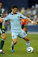 Milos Stojcev (88)  midfielder Sporting KC in action..... Sporting Kansas City defeated Portland Timbers 3-1 at LIVESTRONG Sporting Park, Kansas City, Kansas.