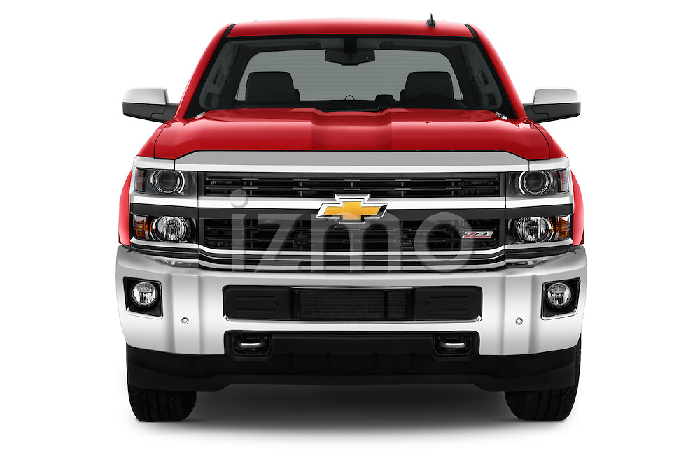 Car photography straight front view of a 2015 Chevrolet Silverado 2500 4 Door Van