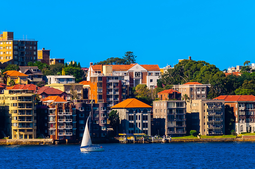 Residential buildings along Sydney Harbor, Sydney, New South Wales, Australia