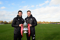 Lincoln City manager Danny Cowley, left, and Lincoln City's assistant manager Nicky Cowley with the Emirates FA Cup at Lincoln City's new Elite Performance Centre<br /> <br /> Photographer Chris Vaughan/CameraSport<br /> <br /> The official opening of Lincoln City's new Elite Performance Centre - Wednesday 7th November 2018 - Scampton, Lincolnshire<br /> <br /> World Copyright © 2018 CameraSport. All rights reserved. 43 Linden Ave. Countesthorpe. Leicester. England. LE8 5PG - Tel: +44 (0) 116 277 4147 - admin@camerasport.com - www.camerasport.com