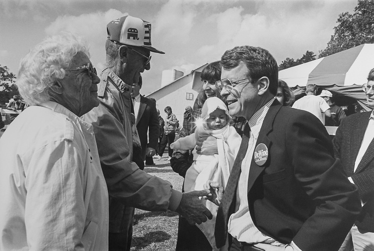 Lut. Gov. Mike DeWine, R-Ohio, campaigning for US Senate against Sen. John Glenn in October 1992. (Photo by Kathleen Beall/CQ Roll Call via Getty Images)