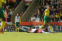 Conor Hourihane of Aston Villa in action goes over Villa penalty during Norwich City vs Aston Villa, Premier League Football at Carrow Road on 5th October 2019
