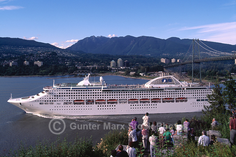 Cruise Ship leaving Vancouver Harbour at Prospect Point, Vancouver, British Columbia, Canada, en route to Alaska
