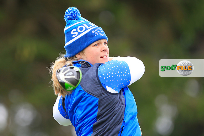 Caroline Hedwell (EUR) on the 2nd tee during Day 3 Singles at the Solheim Cup 2019, Gleneagles Golf CLub, Auchterarder, Perthshire, Scotland. 15/09/2019.<br /> Picture Thos Caffrey / Golffile.ie<br /> <br /> All photo usage must carry mandatory copyright credit (© Golffile | Thos Caffrey)