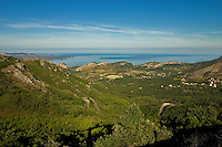 Corsica. Patrimonio village and district on Cap Corse from the Col de Teghime. Golfe de St. Florent. France.  Principal wine producing village and area. .