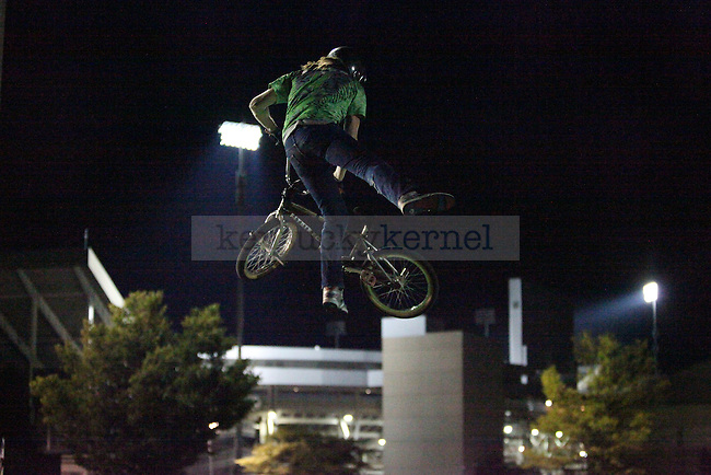 A BMX bike group performs during Campus Ruckus at Commonwealth Stadium in Lexington , Ky., on Friday, August 23, 2013. Photo by Eleanor Hasken | Staff