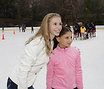 Polina Edmunds poses with skater - Skating with the Stars - a benefit gala for Figure Skating in Harlem in its 17th year is celebrated with many US, World and Olympic Skaters honoring Michelle Kwan and Jeff Treedy on April 7, 2014 at Trump Rink, Central Park, New York City, New York. (Photo by Sue Coflin/Max Photos)