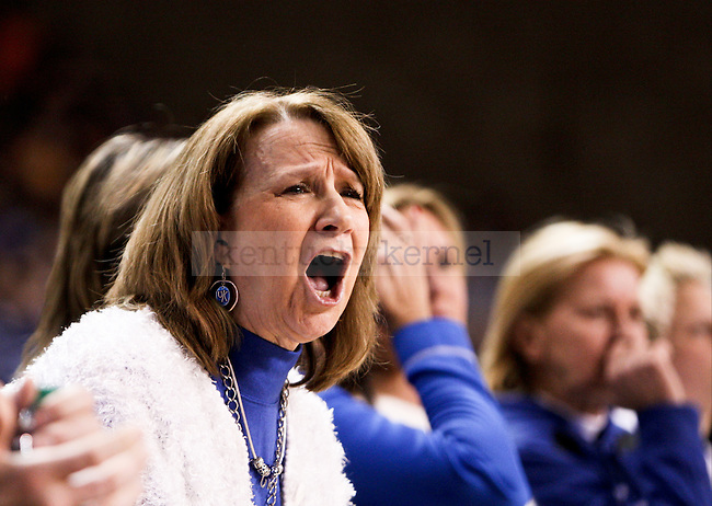 A Kentucky fan yells at the referees after a tough during the first half of the UK Hoops versus Tennessee basketball game at Memorial Coliseum in Lexington , Ky., on Thursday, January 29, 2015. Photo by Jonathan Krueger | Staff