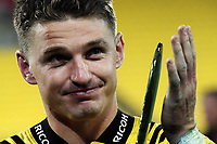 Hurricanes centurion Beauden Barrett thanks fans after the Super Rugby match between the Hurricanes and Crusaders at Westpac Stadium in Wellington, New Zealand on Saturday, 10 March 2018. Photo: Dave Lintott / lintottphoto.co.nz