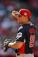 Yonder Alonso of the Cincinnati Reds organization participates in the Futures Game at Angel Stadium in Anaheim,California on July 11, 2010. Photo by Larry Goren/Four Seam Images