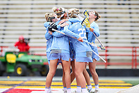 College Park, MD - February 24, 2019: North Carolina Tar Heels celebrates after scoring a goal during the game between North Carolina and Maryland at  Capital One Field at Maryland Stadium in College Park, MD.  (Photo by Elliott Brown/Media Images International)