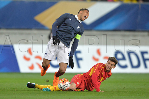 28.03.2016. Stade LeMans,  Le Mans, France, U-21 2017 Euros qualification. France versus Macedonia.   CORENTIN TOLISSO brought down by the foul from DAVID BABUNSKI