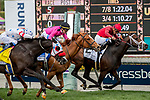ARCADIA, CA  MARCH 7:  #2 River Boyne, ridden by Abel Cedillo, holds off  #3 Got Stormy, ridden by Tyler Gaffalione, and #4 Next Shares, ridden by Flavien Prat, to win the Frank E. Kilroe Mile (Grade l) on March 7, 2020, at Santa Anita Park in Arcadia, CA.(Photo by Casey Phillips/Eclipse Sportswire/CSM