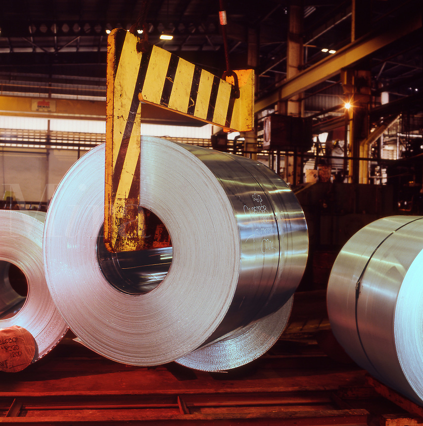 Rolled aluminium/aluminum sheet in production plant. South East Asia..