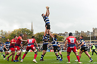 Elliott Stooke of Bath Rugby wins the ball at a lineout. Aviva Premiership match, between Bath Rugby and Worcester Warriors on October 7, 2017 at the Recreation Ground in Bath, England. Photo by: Patrick Khachfe / Onside Images