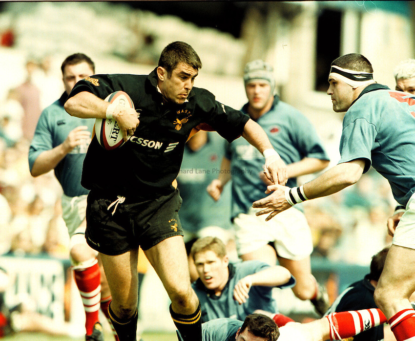 Photo: Richard Lane.Wasps v London Scottish  2.5.99.Peter Scrivener has the London Scottish defence in tatters