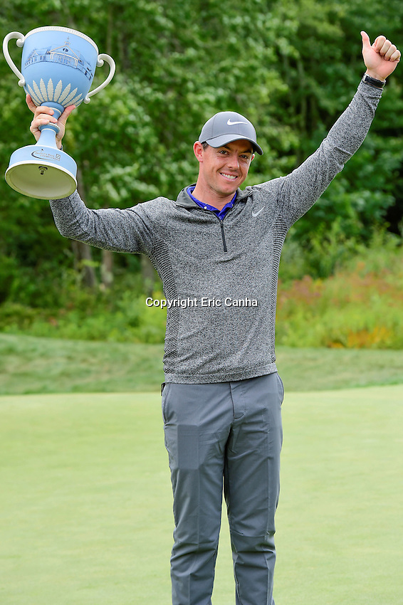 Monday, September 5, 2016:  Rory McIlroy of Northern Ireland poses with the Deutsche Bank Championship trophy after winning  the Deutsche Bank Championship tournament with a final tournament score of -15 at the Tournament Players Club, in Norton, Massachusetts.  Eric Canha/Cal Sport Media