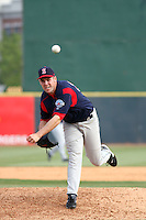 Left-handed relief pitcher Derrick Loop of the Salem Red Sox pitching during a game against  the Myrtle Beach Pelicans on May 3, 2009