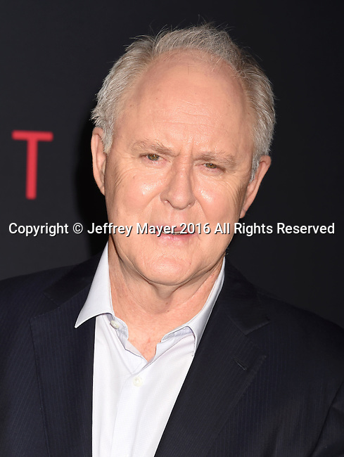 HOLLYWOOD, CA - OCTOBER 10: Actor John Lithgow arrives at the premiere of Warner Bros Pictures' 'The Accountant' at TCL Chinese Theatre on October 10, 2016 in Hollywood, California.