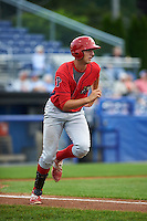 Williamsport Crosscutters first baseman Brendon Hayden (43) runs to first during a game against the Batavia Muckdogs on August 29, 2015 at Dwyer Stadium in Batavia, New York.  Williamsport defeated Batavia 7-3.  (Mike Janes/Four Seam Images)