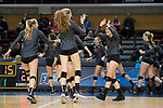 GRAND RAPIDS, MI - NOVEMBER 18: Regan Dinovitz (18) of Claremont-Mudd-Scripps high fives teammate Shelbi Stein (3) during the Division III Women's Volleyball Championship held at Van Noord Arena on November 18, 2017 in Grand Rapids, Michigan. Claremont-M-S defeated Wittenberg 3-0 to win the National Championship. (Photo by Doug Stroud/NCAA Photos via Getty Images)