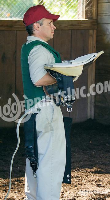 Sean Jones waiting to saddle Prince Vincenzo at Delaware Park on 9/23/15