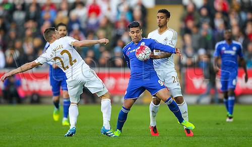 09.04.2016. Liberty Stadium, Swansea, Wales. Barclays Premier League. Swansea versus Chelsea. Chelsea's Radamel Falcao competes with Swansea City's Angel Rangel for a loose ball