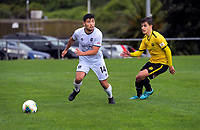 Gavin Hoy looks for support during the ISPS Handa Premiership football match between Wellington Phoenix Reserves and Hawkes Bay United at Porirua Park in Wellington, New Zealand on Sunday, 10 November 2019. Photo: Dave Lintott / lintottphoto.co.nz