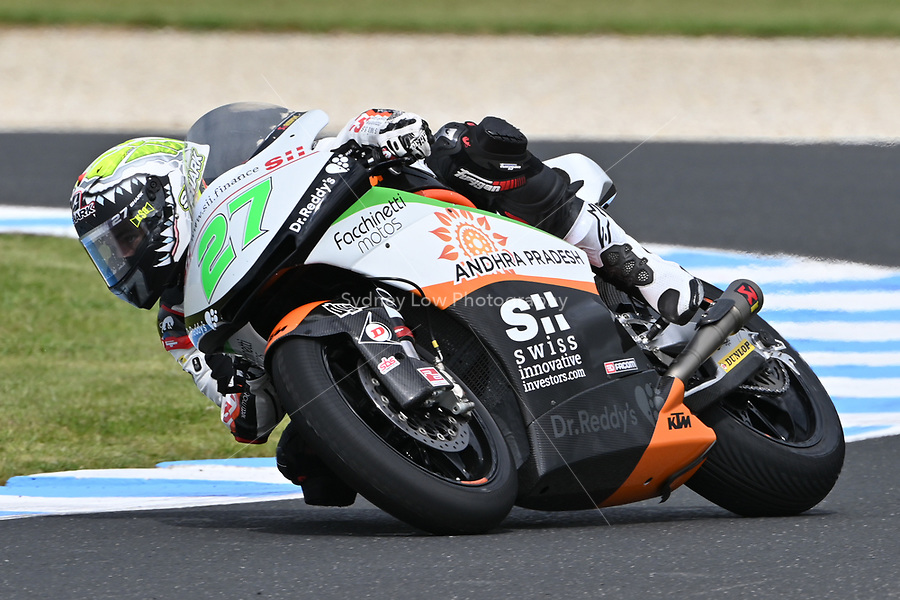 October 27, 2018: Iker Lecuona (SPA) on the No.27 KTM from Swiss Innovative Investors during the Moto2 practice session three at the 2018 MotoGP of Australia at Phillip Island Grand Prix Circuit, Victoria, Australia. Photo Sydney Low