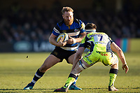 Ross Batty of Bath Rugby in possession. Aviva Premiership match, between Bath Rugby and Sale Sharks on February 24, 2018 at the Recreation Ground in Bath, England. Photo by: Patrick Khachfe / Onside Images