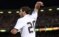 Gonzalo Higuain argues the offside call. Real Madrid defeated Club America 3-2 at Candlestick Park in San Francisco, California on August 4th, 2010.