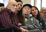 From left, World War II Navy veteran Frank Minervini, family friend Lea Cartwright, WWII Navy veteran Joseph Ballek and his daughter Jane listen to the USS Nevada Centennial Ceremony at the Capitol in Carson City, Nev., on Friday, March 11, 2016. Cathleen Allison/Las Vegas Review-Journal