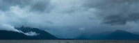 Dramatic, rainy and moody Lake Te Anau, Fiordland National Park, UNESCO World Heritage Area, Southland, New Zealand, NZ