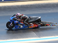 Jul 23, 2017; Morrison, CO, USA; NHRA pro stock motorcycle rider Angie Smith during the Mile High Nationals at Bandimere Speedway. Mandatory Credit: Mark J. Rebilas-USA TODAY Sports
