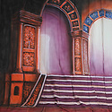 Backdrop featuring stairs up to a regal stage with columns, purple and orange drapery colors.