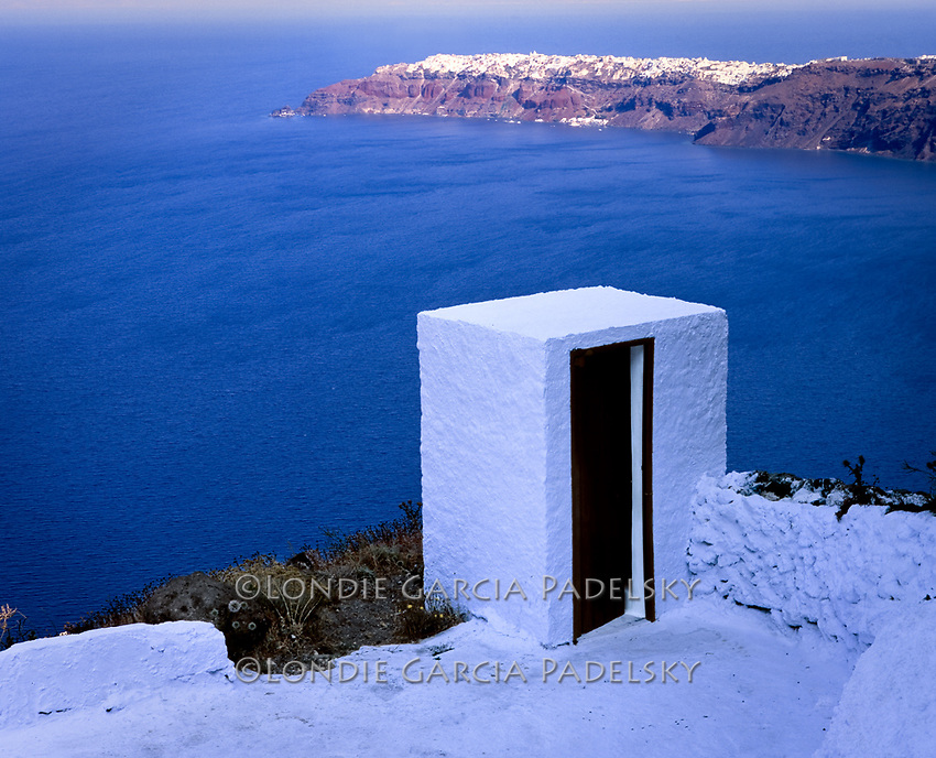 Outhouse on a cliffside at Santorini Island, Greece