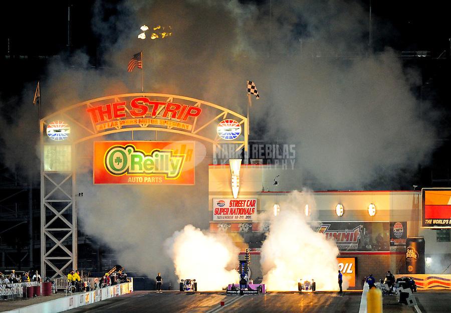 Oct. 28 2011; Las Vegas, NV, USA: NHRA jet dragsters during qualifying for the Big O Tires Nationals at The Strip at Las Vegas Motor Speedway. Mandatory Credit: Mark J. Rebilas-US PRESSWIRE