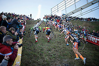 The Elite Men attacking &quot;Le Mur&quot; de Francorchamps (50% gradient!) in the first lap <br /> <br /> Superprestige Francorchamps 2014