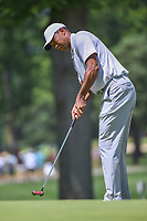 Tiger Woods (USA) watches his putt on 2 during 3rd round of the World Golf Championships - Bridgestone Invitational, at the Firestone Country Club, Akron, Ohio. 8/4/2018.<br /> Picture: Golffile | Ken Murray<br /> <br /> <br /> All photo usage must carry mandatory copyright credit (© Golffile | Ken Murray)