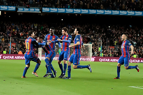 11.01.2017, Nou Camp, Barcelona, Spain. Copa del Rey, 2nd leg. FC. Barcelona versus Athletico Bilbao. Messi's goal celebration with team mates