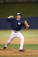 Scott Grist (36) of the AZL Brewers pitches during a game against the AZL Athletics at Maryvale Baseball Park on June 30, 2015 in Phoenix, Arizona. Brewers defeated Athletics, 4-2. (Larry Goren/Four Seam Images)