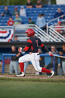 Batavia Muckdogs second baseman Samuel Castro (5) at bat during a game against the West Virginia Black Bears on June 26, 2017 at Dwyer Stadium in Batavia, New York.  Batavia defeated West Virginia 1-0 in ten innings.  (Mike Janes/Four Seam Images)