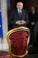 La sedia vuota di Giorgio Napolitano<br /> Roma 28-11-2014 Quirinale. Incontro 'L'Europa della cultura'.<br /> Meeting Europe of culture at Quirinale<br /> Photo Samantha Zucchi Insidefoto