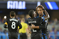 San Jose, CA - Saturday September 16, 2017: Kofi Sarkodie, Danny Hoesen during a Major League Soccer (MLS) match between the San Jose Earthquakes and the Houston Dynamo at Avaya Stadium.