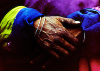 Detail of pilgrims hands, Ladakh, India (Cross Processed)