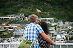Picton, NEW ZEALAND - January 17: A Couple embrace while entering Picton Harbor on the Interislander Kaitaki.  January 17, 2015 in Wellington, New Zealand.  REAL PEOPLE.  (Photo by Elias Rodriguez/ real-people.co.nz)