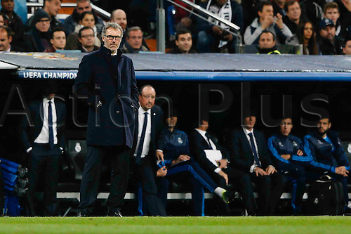 03.11.2015. Madrid, Spain.  Laurent Blanc coach of PSG  during the soccer match UCL Champions League between Real Madrid and PSG at the Santiago Bernabeu stadium in Madrid, Spain, November 3, 2015.